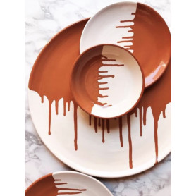 Assiette drippy terracotta