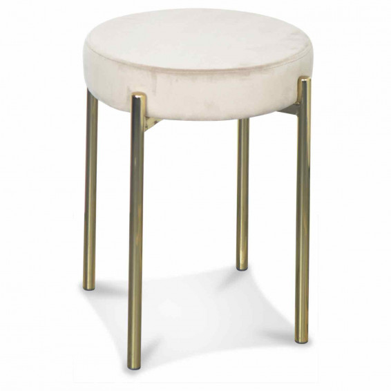 Tabouret velours taupe