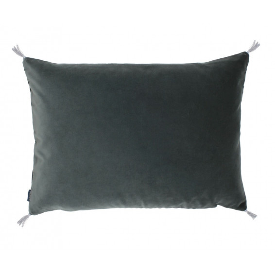 Coussin velours smooth acier